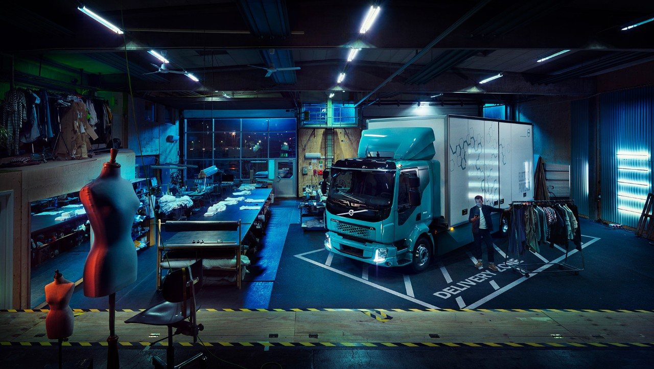 Electric Volvo truck inside a clothing factory