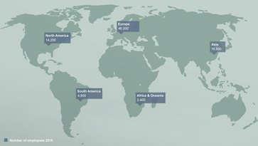 Map of the world showing the amount of employees in each continent from Volvo Group