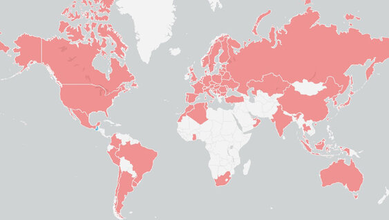 Countries where training from Volvo Group University has been taken during the last 12 months