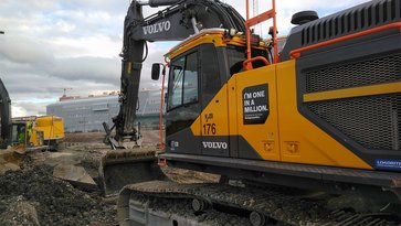 Volvo excavator at a construction site in Gothenburg, Sweden
