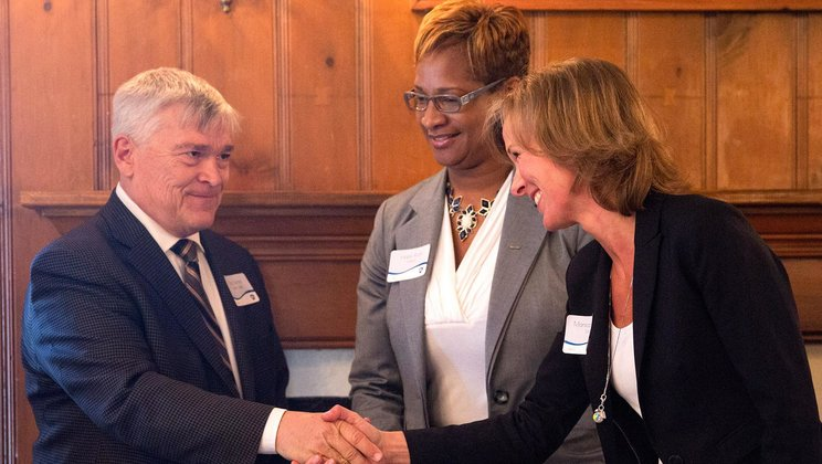 Eric Barron, Penn State President ,together with Hope Rush, Volvo Group North America and Monica Ringvik, Volvo Group.