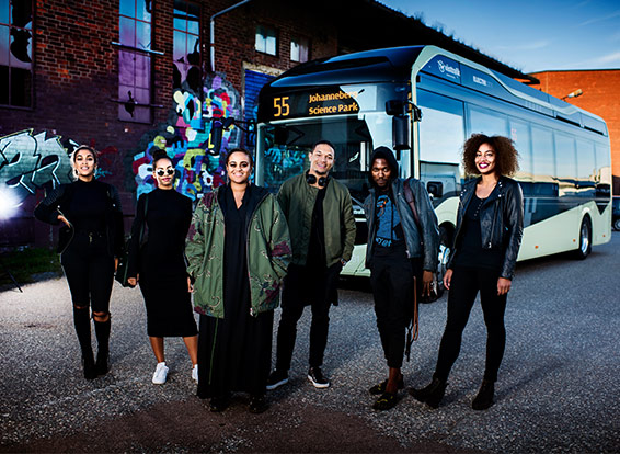 Seinabo Sey performed with friends in front of surprised passengers on one of Gothenburg's new electric buses during Silent Bus Sessions.