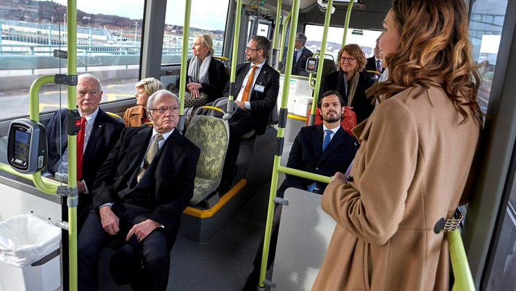 The Canadian Governor General and the King of Sweden on the electric bus.