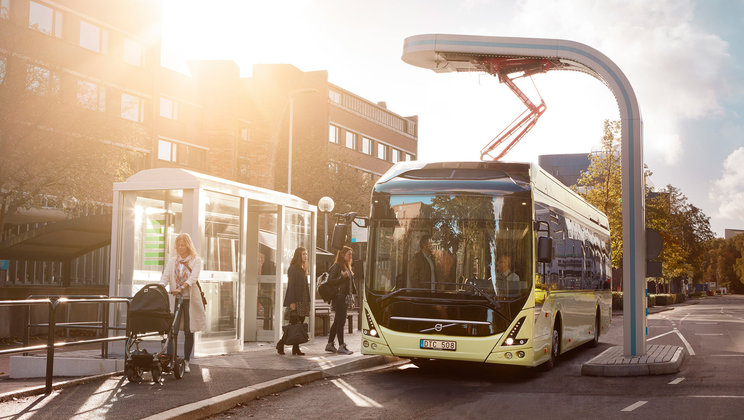 Electric bus at bus stop