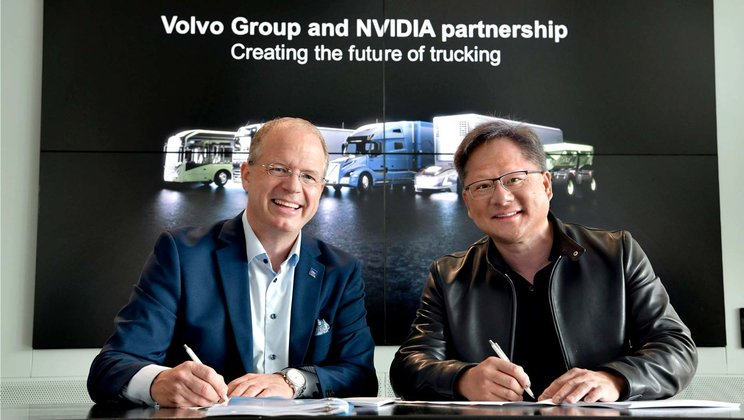Martin Lundstedt, Volvo Group, and Jensen Huang, NVIDIA