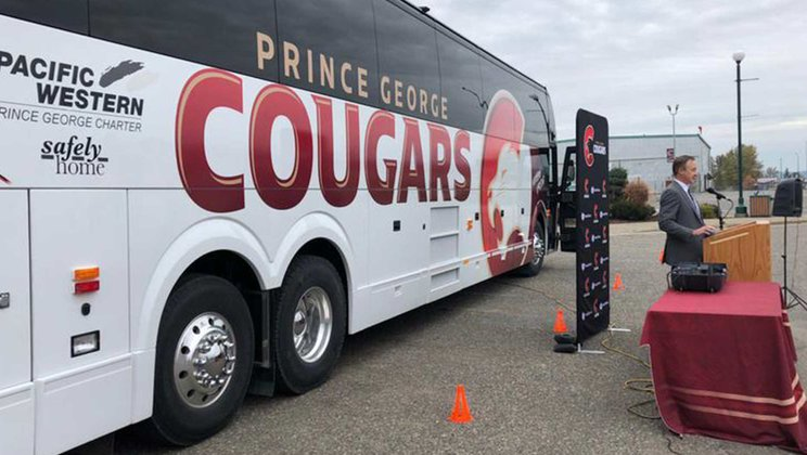 Prince George Cougars Hockey Team Excited About New Prevost H3-45
