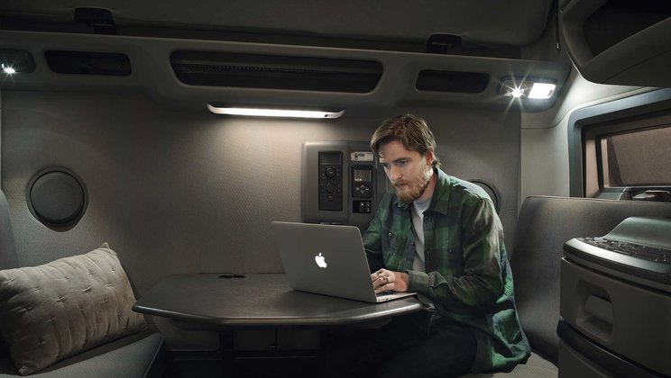 The new workstation provides a comfortable sitting area and table for drivers