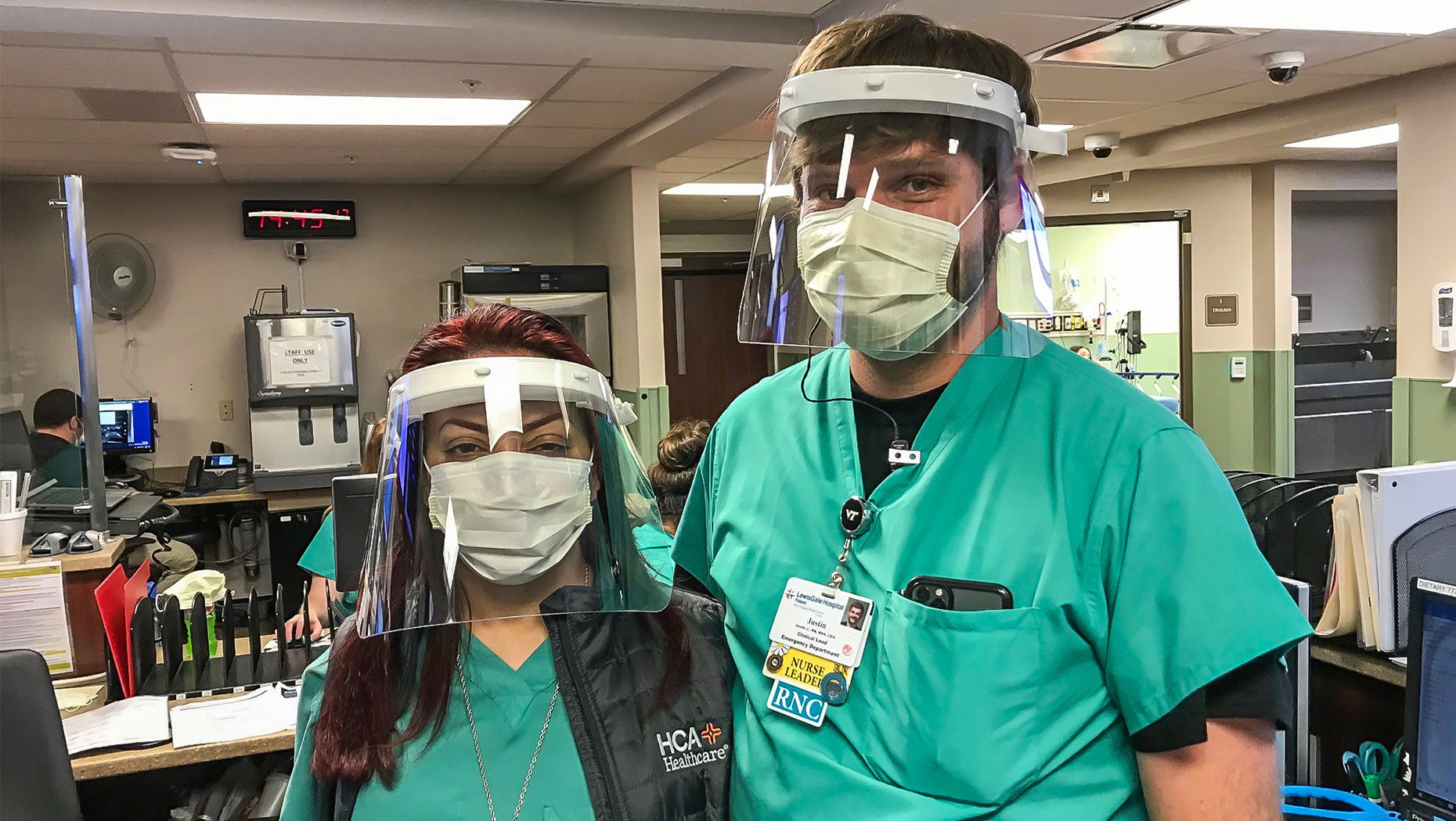 New River Valley Delivers Face Shields and Ear Guards to ER Nurses at LewisGale Hospital