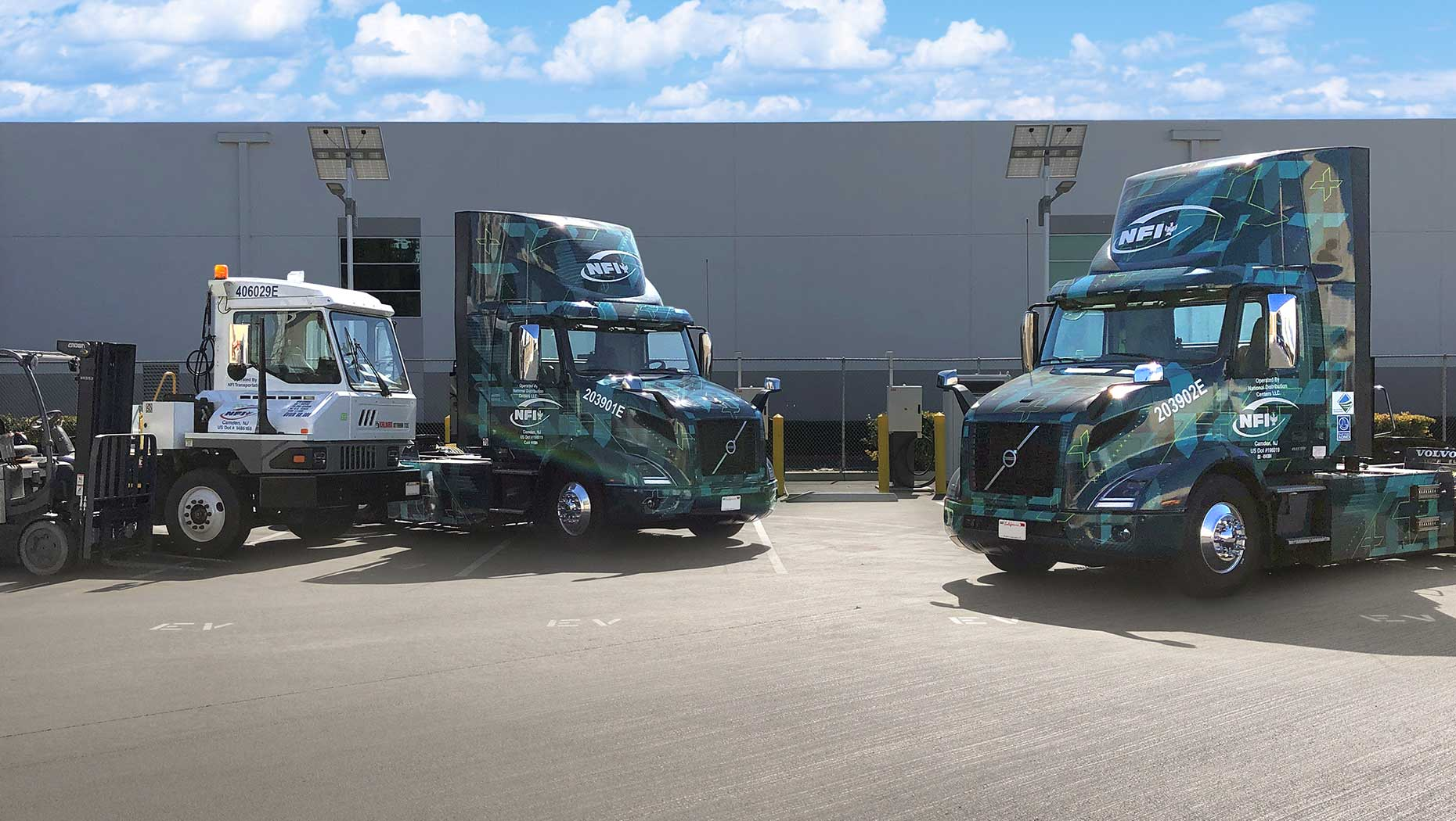 Volvo Trucks customer NFI achieves a major electrification milestone at its Chino, California location including adding two Volvo VNR Electrics to its fleet along with utilizing electric yard trucks and forklifts