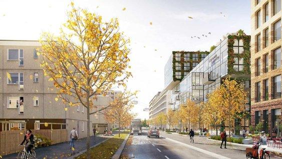 Visionsbild från Volvo Group Sverige av Gropegårddsgatan på Campus Lundby