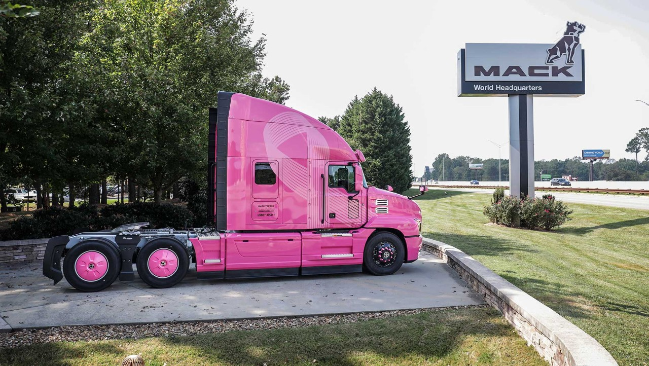 Mack Trucks is showing its support for breast cancer awareness by prominently displaying a pink Mack Anthem® model at its World Headquarters based in Greensboro, N.C.