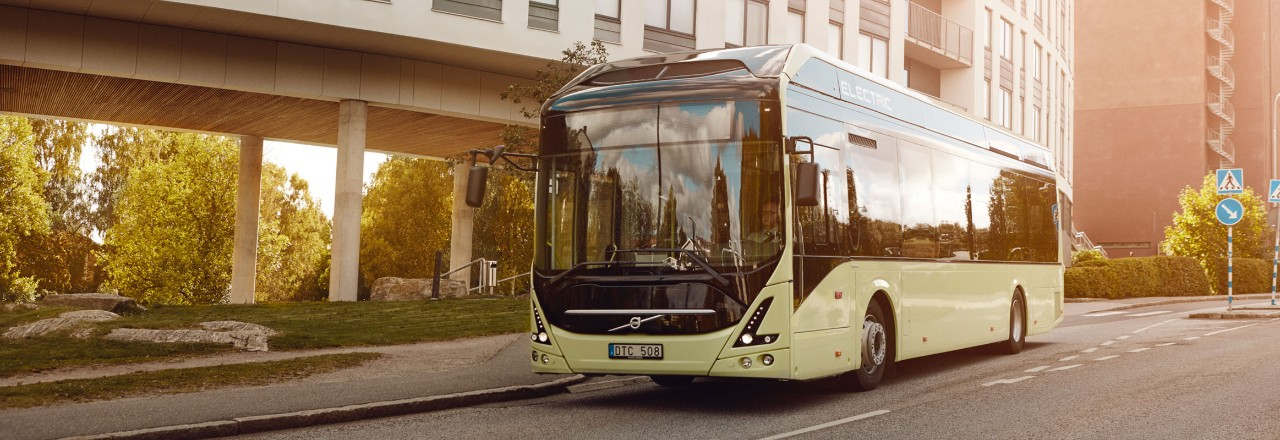 Electric Volvo bus on a road in Sweden