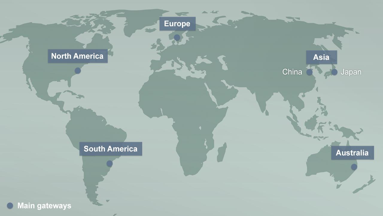 Mapa que muestra las principales puertas de enlace VPN de todo el mundo